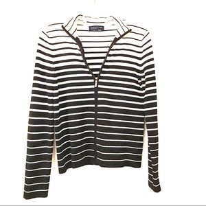 Jones New York Black & White Striped Cardigan